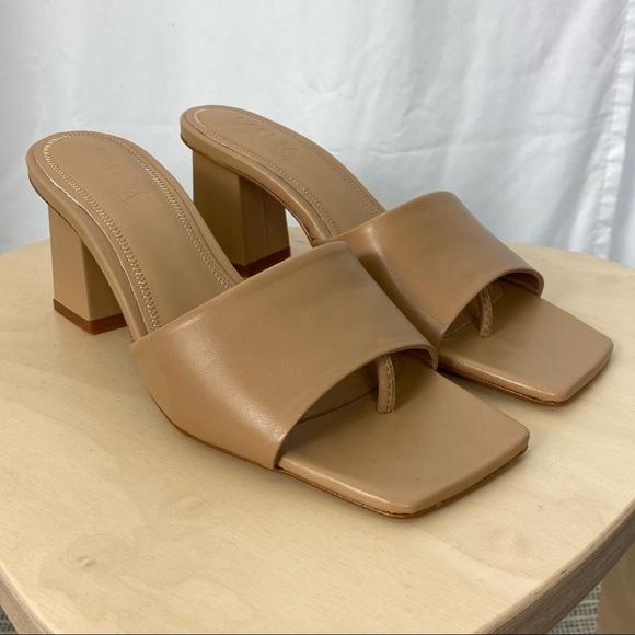 Zara Nude Block Heel Sandal